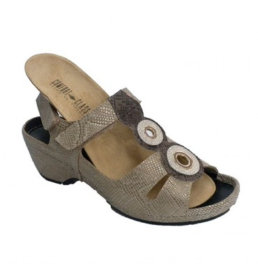 Sandal woman with two metal circles on instep skin engraved snake removable insoles Confort Class in golden