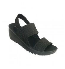 Elasticated open toe and heel women sandal ANDY-Z in black