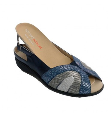 Special women sandal for orthopedic insoles Doctor Cutillas in navy blue