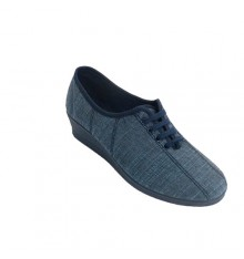 Lace-up sneaker with stitching Soca in jeans