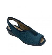 Sneaker woman at home open toe and heel rubber vamp Muñoz y Tercero in navy blue