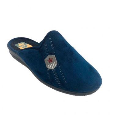 Chinelos em casa, abra o homem de volta com escudo Ruiz Bernal em Azul-marinho