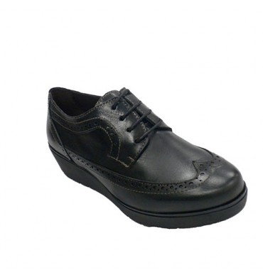 Women's shoe with English wedge laces Sigo in black