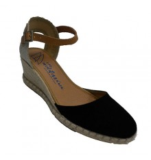 Shoe woman closed hemp wedge Calzamur in black