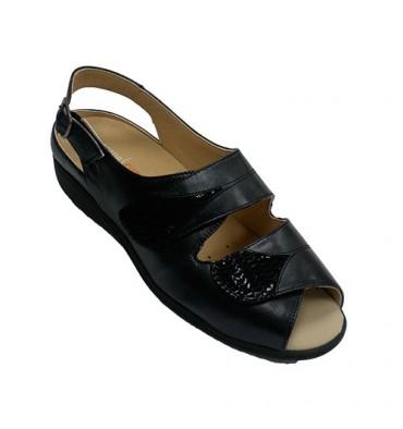 Sandálias de velcro femininas palmilhas ortopédicas especiais Doctor Cutillas em Preto