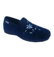 Shoe be home velvet closed Muro in navy blue