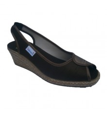 Sapato wedge esparto com dedo aberto eo calcanhar em marrom Salemera