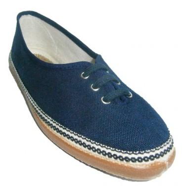 Cadarços de sapatos lisos clássicos na marinha Soca