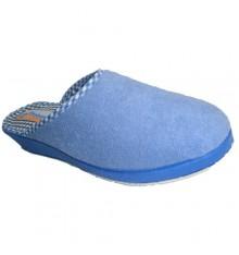 Thongs fechado toalha lisa em azul Soca ponta