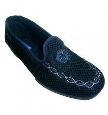 Closed shoe uppers embroidered grid Alberola in navy blue