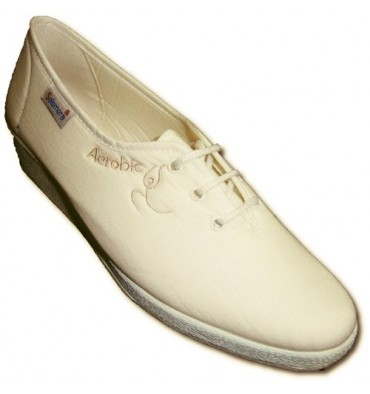 Comfortable walking shoes laces Wedge Salemera in white
