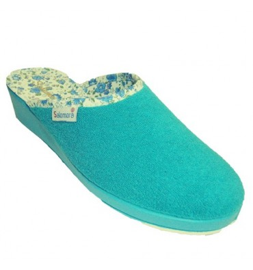 Sandals closed toe towel lining flowers and vichy Salemera in turquoise