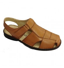 Closed toe sandals by velcro clasp 30´s in brown