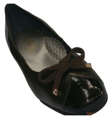 Shoe type combined leather and patent leather ballet flats Roldán in dark Brown