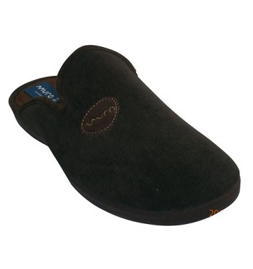 Thongs simulating corduroy with ornament on one side Muro in brown