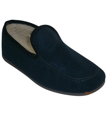 Closed shoes with sheepskin lined Calzamur in blue