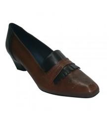 Sport shoe medium heel high upper with fringe Pomares Vazquez in medium brown