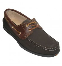 Boat shoes nubuck leather combined El Corzo in dark Brown