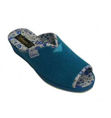 Thongs towel woman marries bare toe and heel lining flowers Salemera in turquoise