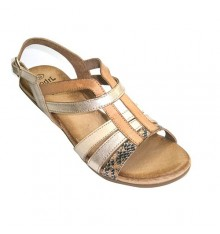 Sandals women in three colors combined with strips brooch aside Rodri in various colors
