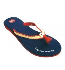 Thongs piscina ou praia mulher com tranças furar o dedo acima da faixa Gioseppo em Azul