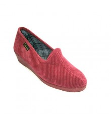 Classic corduroy slipper wedge Salemera in garnet