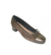 Ballerinas women combined leather and suede Roldán in brown