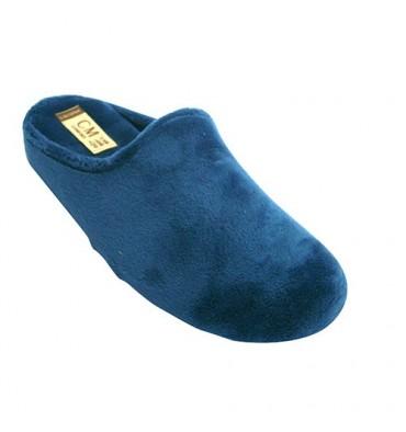 Flip flops women be home with velvet fabric wedge type Calzamur in blue