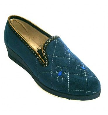 Shoe be home closed woman with flower pattern Ludiher in navy blue