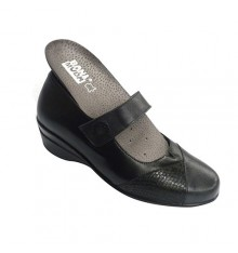 Mary Jane shoe woman with velcro special orthotics Manuel Almazan in black