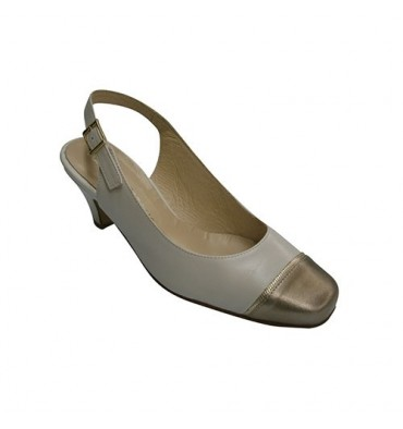 Metallic shoe heel open toe woman closed Pomares Vazquez in various colors