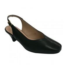 Abra volta vestido sapato impressão mulher feia Pomares Vazquez em Preto