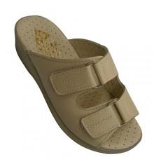 Women flip flops two strips very comfortable Velcro plant Kuass in beig