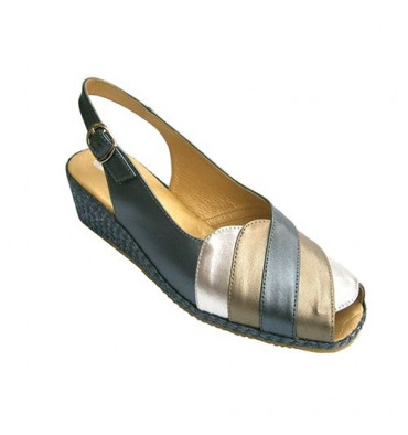 Woman sandal combined three colors Doctor Cutillas in various colors