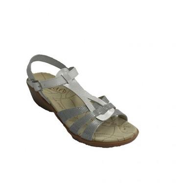 Women dress sandal buckle buckled ankle Rodri in white