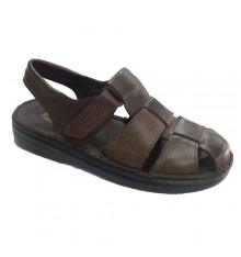 Man sandal closed by the open toe heel Muñoz y Tercero in brown