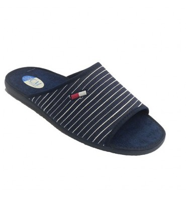 Thongs man be home fabric with stripes Calzamur in blue