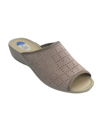 Chancla toe and slingback woman with openwork shovel Calzamur in beig