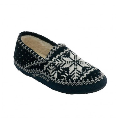 Shoe be home closed Nordic type woman Norteñas in navy blue