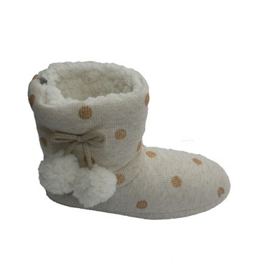 Cloth boots lunar be home with two pompoms on the sides Gioseppo in beig