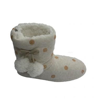 Pano botas lunar estar em casa com dois pompons nas laterais Gioseppo em Beig