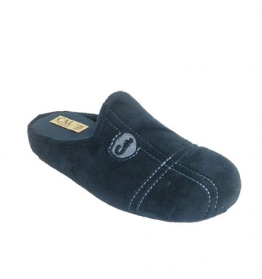 Chancla man be home with stitching shovel Calzamur in navy blue