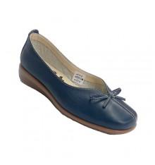 Zapato mujer cuña baja tipo manoletina abertura en empeine con lazo 48 Hours en azul