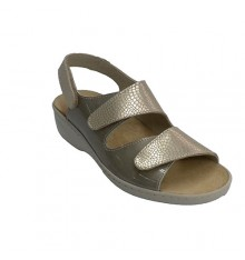 Women's sandals with two velcro strips Confort Class in metallic