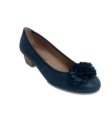 Manoletina woman low heel with cuff Pitillos in navy blue