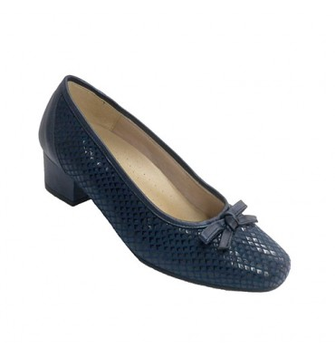 Women's shoe type mid heel with drawstring drawstring Doctor Cutillas in navy blue