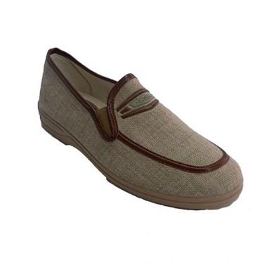 Zapatilla hombre tipo zapato con ribetes en piel Muñoz y Tercero en beig