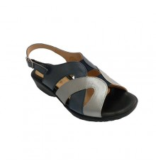 Sandal woman shades marine and metal very comfortable Doctor Cutillas in navy blue