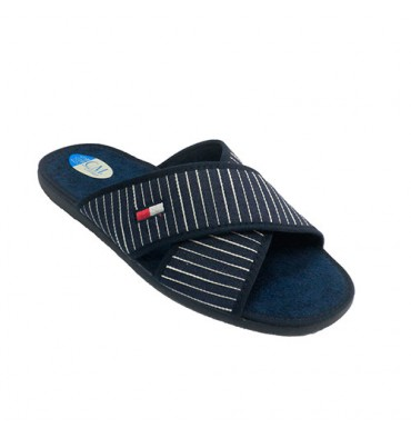 Flip-Flops be at home man two strips crossed with stripes Calzamur in navy blue