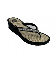 Flip-flop beach woman swimming pool finger with rhinestones Gioseppo in black